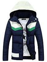 Пальто Простое Длинная На подкладке Для мужчин,Однотонный На каждый день Полиэстер Полиэстер,Длинный рукав