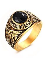 Men's Statement Rings Jewelry Daily/Hallowas/Party/Wedding/Casual Fashion Stainless Steel Rhinestone Golden 1pc Gift
