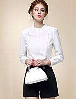 Chemise Femme,Couleur Pleine Décontracté / Quotidien simple Automne Manches Longues Mao Blanc Coton Fin