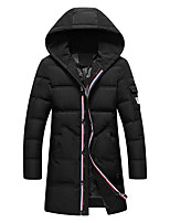 Men's Long Padded Coat,Simple / Chinoiserie Casual/Daily / Formal / Holiday Solid-Polyester Polypropylene Long Sleeve Hooded Red / Black