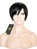 Human Hair Wigs Brazilian Glueless Short Straight Capless Wigs with Side Bang Natural Brown Color