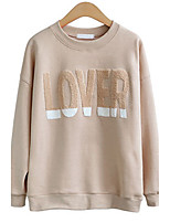 Women's Simple Regular HoodiesLetter Pink / Brown / Gray Round Neck Long Sleeve Cotton Fall Medium Micro-elastic