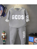 Girl's Casual/Daily Solid Hoodie & Sweatshirt / Pants / Clothing SetCotton Spring / Fall Gray