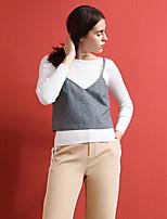 Débardeur Femme,Couleur Pleine Sortie simple Automne Sans Manches A Bretelles Gris Laine / Acrylique / Polyester Moyen