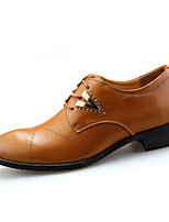 Men's Oxfords Spring Fall Comfort PU Casual Flat Heel Lace-up Black Brown White Walking