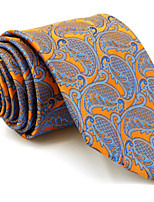 Men's Necktie Tie For Men Orange Paisley 100% Silk Jacquard Woven Business Dress Casual Wedding