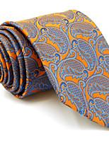 Для мужчин Винтаж / Очаровательный / Для вечеринки / Для офиса / На каждый день Галстук,Искусственный шёлк Узор пейсли (огурцы),Оранжевый