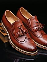 Черный / Коричневый-Мужской-На каждый день-Кожа-На плоской подошве-Удобная обувь-Мокасины и Свитер