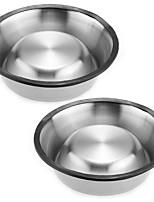 2x15cm Pet Dog Cat Puppy Feeding Feeder Food Bowl Water Dish  Stainless Steel