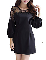 Women's Plus Size / Going out / Casual/Daily Simple / Street chic Sheath Dress,Solid Round Neck Above Knee Long Sleeve White / Black Rayon