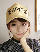Women Men Casual Leather Alphabet Printing Fluorescent Gold Color Dome  Baseball Outdoor Hip-Hop Sun Hat