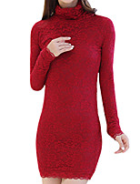 Winter Women's Go out Casual Dresses Solid Color Slim Was Thin Turtleneck Long Sleeve Lace Pack Hip Dress