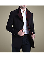 Men's Casual/Daily Simple Trench Coat,Solid Long Sleeve Fall / Winter Blue / Red Wool Medium