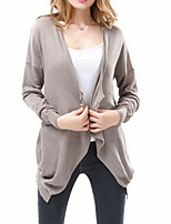 Brand Hight Quali/Women's Casual/Daily / Holiday Sexy / Street chic Regular CardiganSolid Black / Brown V Neck Long Sleeve Cotton Fall /