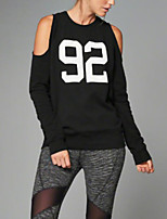 Women's Casual/Daily Simple / Active Regular Hoodies,Print Black Round Neck Long Sleeve Cotton Fall / Winter Medium Stretchy