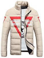 Пальто Простое Обычная На подкладке Мужчины,Однотонный На каждый день Полиэстер Хлопок,Длинный рукав Бежевый