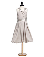 Lanting Bride® Knee-length Charmeuse Junior Bridesmaid Dress A-line Straps with Sash / Ribbon / Criss Cross / Ruching
