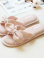 Women's Slippers & Flip-Flops Fall Winter Scuff Cotton Casual Flat Heel Bowknot Pink Gray Others