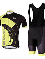 QKI Cycling Jersey with Bib Shorts 5D Pro Gel Padde Unisex Short SleeveBreathable / Quick Dry