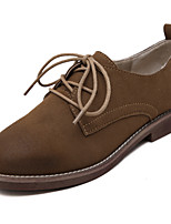 Women's Oxfords Spring / Summer / Fall / Winter Comfort  Casual Flat Heel Lace-up Brown / Gray Walking