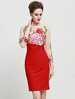 Damen Hülle Kleid-Ausgehen Anspruchsvoll Stickerei Rundhalsausschnitt Übers Knie ¾-Arm Rot / Lila Andere Sommer Mittlere Hüfthöhe