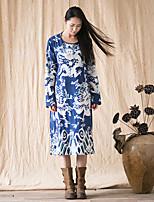 Женский На каждый день Шинуазери (китайский стиль) А-силуэт Платье С животными принтами,Круглый вырез Средней длины Длинный рукав Синий