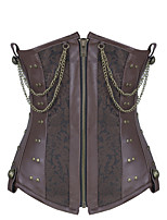 Shaperdiva Women Leather 8 Steel Boned Waist Cincher Gothic Steampunk Corset