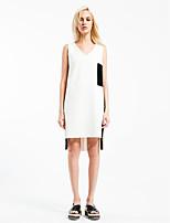 Noir et blanc Robe Femme Sortie simple,Couleur Pleine Col en V Au dessus du genou Sans Manches Blanc Coton Printemps Taille Normale