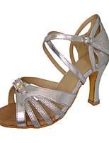 Chaussures de danse(Rouge / Argent) -Personnalisables-Talon Personnalisé-Satin / Similicuir-Latine / Jazz / Salsa / Chaussures de Swing