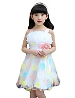 Girl's Casual/Daily Solid Dress,Cotton / Polyester Summer Green / Pink