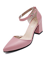 Women's Heels Spring / Summer Comfort PU Casual Chunky Heel Buckle Black / Pink / Gray / Black and White Others