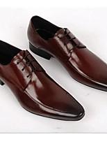 Masculino-Oxfords-Conforto Sapatos formaisPreto Marrom-Couro-Casamento Escritório & Trabalho