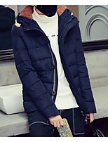 Men's Short Padded Coat,Simple Casual/Daily Solid-Polyester Cotton Long Sleeve Hooded Blue / Red / Black / Gray