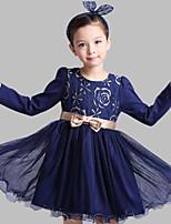A-Şekilli Kısa / Mini Çiçekçi Kız Elbisesi - Pamuk / Tül Uzun Kol Taşlı Yaka ile Fiyonk / Tema / Baskı