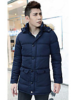 Men's Long Down Coat,Simple Casual/Daily Solid-Polyester Polypropylene Long Sleeve Blue