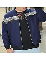 Men's Casual/Daily Simple Jackets,Solid Shirt Collar Long Sleeve Fall / Winter Blue Cotton Medium