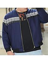 Мужчины На каждый день Однотонный Куртка Рубашечный воротник,Простое Осень / Зима Синий Длинный рукав,Хлопок,Средняя