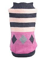 Katzen Hunde Pullover Hundekleidung Winter Frühling/Herbst Streifen Lässig/Alltäglich Rosa