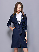 YBKCP  Women's Casual/Daily Simple CoatSolid Notch Lapel Long Sleeve Fall / Winter Blue Cotton