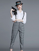 Women's Casual/Daily Simple Spring / Fall Shirt Pant Suits,Plaid Stand ¾ Sleeve White Cotton / Polyester Medium