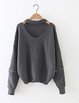 Women's Casual/Daily Cute Regular Pullover,Solid Pink / Black / Brown / Gray Round Neck Long Sleeve Cashmere / Polyester Fall / Winter