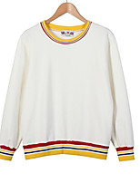 Women's Casual/Daily Simple / Active Regular Hoodies,Color Block Blue / Red / White Round Neck Long Sleeve Cotton Fall / Winter Medium