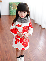 Girl's Casual/Daily Floral DressCotton Spring / Fall Black / Red