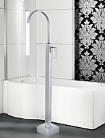 Art Deco/Retro / Modern Tub And Shower Waterfall / Floor Standing with  Ceramic Valve Single Handle One Hole