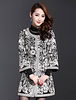 AINIER Women's Casual/Daily Simple CoatJacquard Round Neck Long Sleeve Fall Black Cotton / Polyester Medium