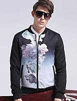 Men's Casual/Formal/Work Simple/Street chic Jackets Floral Stand Long Sleeve All Seasons Black Cotton/Polyester Medium