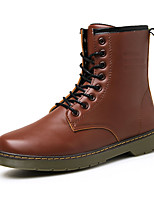 Men's Boots Fall / Winter Mary Jane / Work & Safety PU Casual Flat Heel Lace-up Black / Brown / Red Others