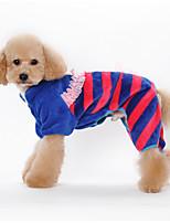 Собаки Комбинезоны Пижамы Оранжевый Синий Розовый Одежда для собак Зима Весна/осень Полоски Милые На каждый день