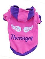 Chat Chien Pulls à capuche Bleu Violet Rouge Rose Vêtements pour Chien Eté Printemps/Automne Lettre et chiffreMode Décontracté /