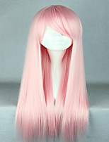 High Quality Costume Hair Synthetic Light Pink Cosplay Wig 70cm Long Straight Lolita Wig